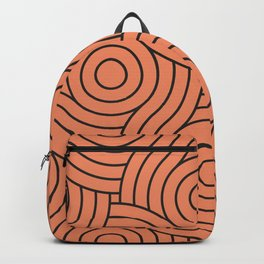 Circle Swirl Pattern VA Fringe Orange - Orange Slice - Fiery Sky Orange - Heirloom Tomato Orange Backpack