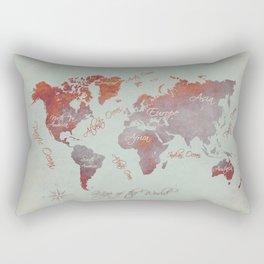 world map 142 red grey #worldmap #map Rectangular Pillow