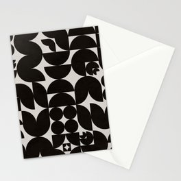 Black & White Mid Century Modern Pattern Stationery Cards