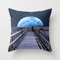 la Throw Pillows featuring Once in a blue moon by Donuts