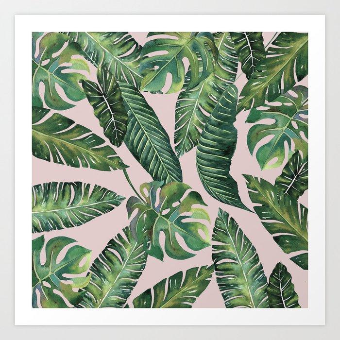 Jungle Leaves, Banana, Monstera Pink #society6 Art Print