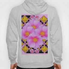 Asymmetrical Black-Pink Wild Rose Floral Pattern Hoody