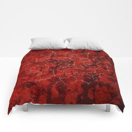 Red marble and golden craquelure Comforters