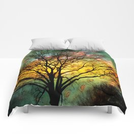Golden Sunset Treescape Comforters