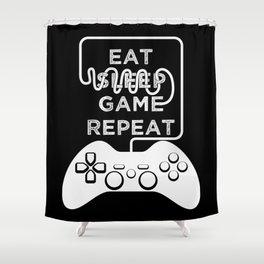 Eat Sleep Game Repeat Shower Curtain