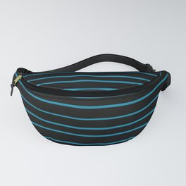Primary Blue, Wishing Well Blue, Amazing Sky, Blue to the Bone Hand Drawn Horizontal Stripes Fanny Pack