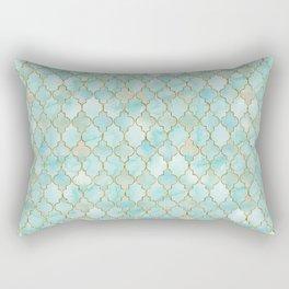 Luxury Aqua and Gold oriental pattern Rectangular Pillow