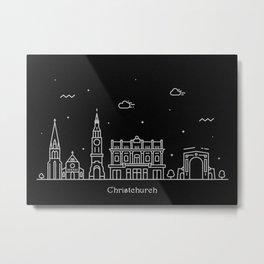 Christchurch Minimal Nightscape / Skyline Drawing Metal Print
