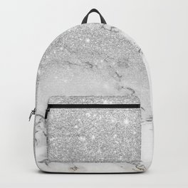 Modern faux grey silver glitter ombre white marble Backpack