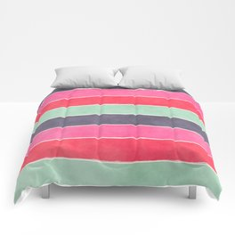 Geometric modern pink coral mint gray watercolor pattern Comforters