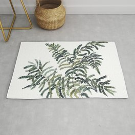 Woodland Fern Botanical Watercolor Illustration Painting Rug