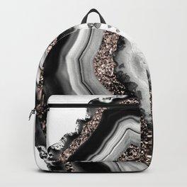 Agate Rose Gold Glitter Glam #4 #gem #decor #art #society6 Backpack
