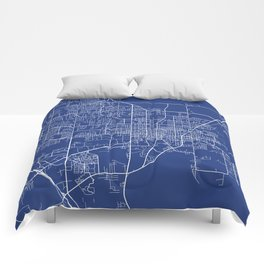 Gainesville Map, USA - Blue Comforters