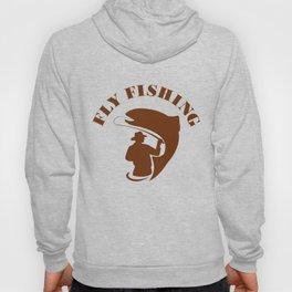 Trout Fly Fishing Isolated Retro Hoody