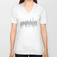 casablanca V-neck T-shirts featuring Paris by S. L. Fina