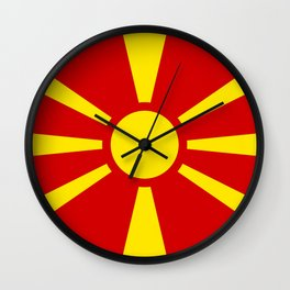 Flag of Macedonia - authentic (High Quality image) Wall Clock