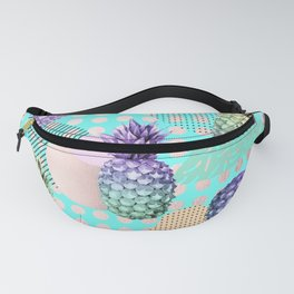 Pineapple Summer Rainbow Rose Gold Fanny Pack