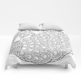 Peacock Mandala Art - Color Your Own  Comforters