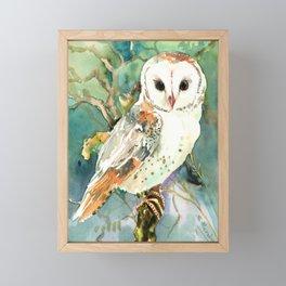 Barn Owl, woodland design owl Framed Mini Art Print