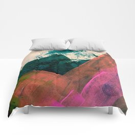 Expand [3]: a colorful, minimal abstract piece in pinks, green, and blue Comforters