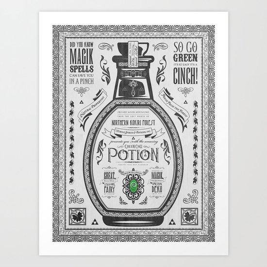 Legend of Zelda Green Chu Potion Advertisement Art Print