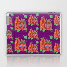 Cat behind pumpkins on a purple background . Laptop & iPad Skin