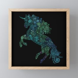 Green and Blue Unicorn Filix Framed Mini Art Print