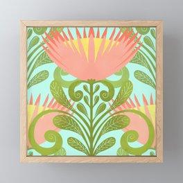 King Protea Flower Pattern - Turquoise Framed Mini Art Print