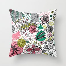 Doodle Flower Throw Pillow