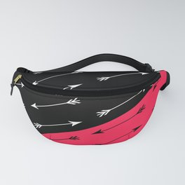 Red black , white pattern Arrow . Fanny Pack