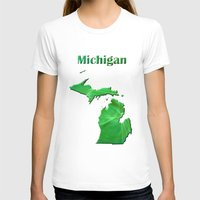 michigan T-shirts featuring Michigan Map by Roger Wedegis