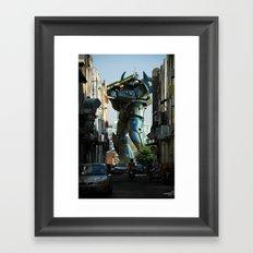 Mech behind a back alley Framed Art Print