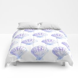 Mermaid Off Duty - Purple & Blue Seashell Comforters
