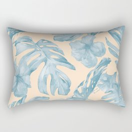 Tropical Leaves Sky Blue on Mango Coral Rectangular Pillow
