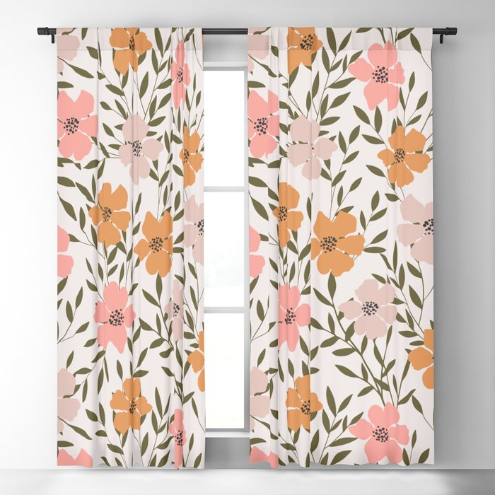 70s Floral Theme Blackout Curtain
