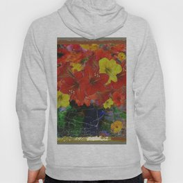 GRUNGY ANTIQUE RED FLORAL STILL LIFE Hoody
