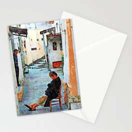 Man observer woman sleeping on the chair in the alley Stationery Cards