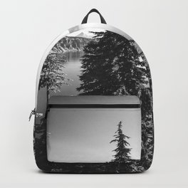 Mountain Lake Forest Black and White Nature Photography Backpack