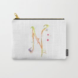 Letter N watercolor - Watercolor Monogram - Watercolor typography - Floral lettering Carry-All Pouch