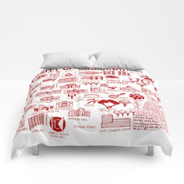Cincinnati College Map White and Red Comforters