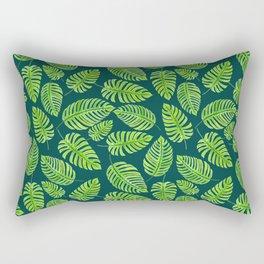 Monstera leaves, tropical watercolor pattern Rectangular Pillow