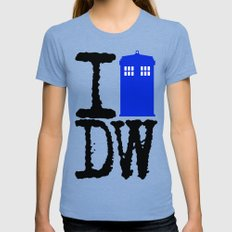 I Love Doctor Who! SMALL Tri-Blue Womens Fitted Tee