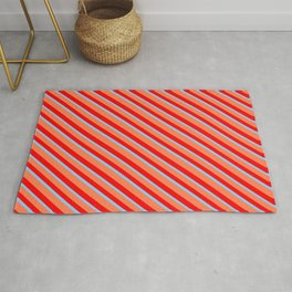 Coral, Red & Light Sky Blue Colored Stripes/Lines Pattern Rug