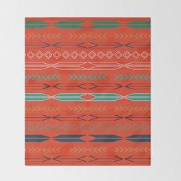 Navajo motifs in red Throw Blanket