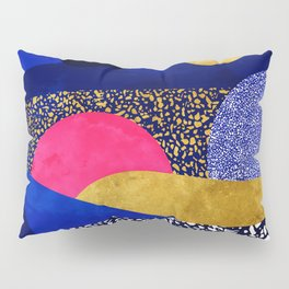 Terrazzo galaxy blue night yellow gold pink Pillow Sham