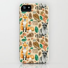 Woodland Creatures Illustrated Watercolor Pattern iPhone Case