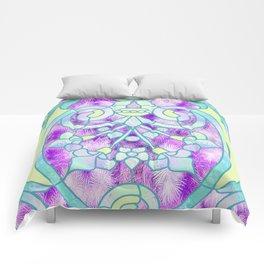 Art Nouveau Aqua and Purple Batik Design Comforters