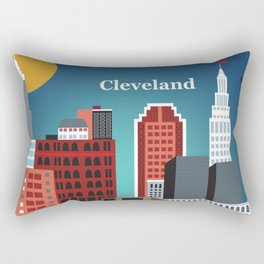 Cleveland, Ohio - Skyline Illustration by Loose Petals Rectangular Pillow