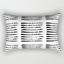 Black squared stripes, hand painted rough texture Rectangular Pillow