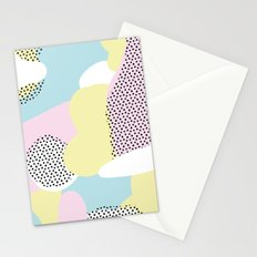 Candy Pink Blue Blobs & Dots Pattern Stationery Cards